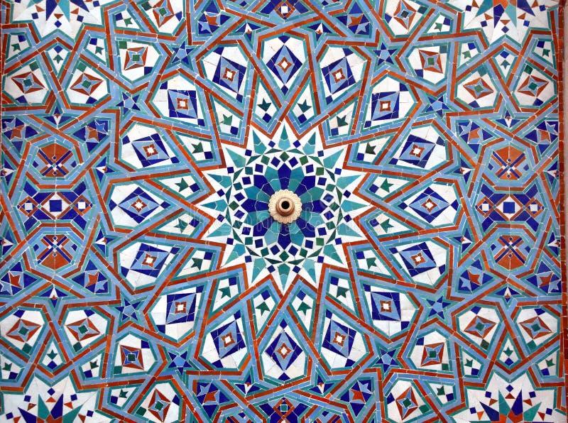 马赛克墙壁细节在哈桑二世清真寺,卡萨布兰卡,摩洛哥 免版税库存照片