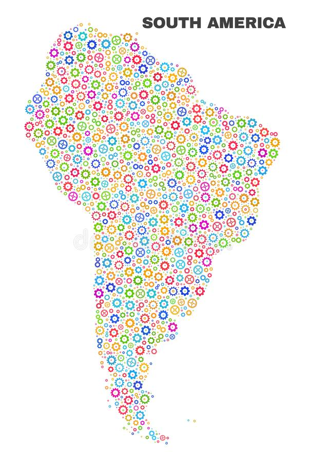 马赛克大齿轮项目南美洲地图  库存例证
