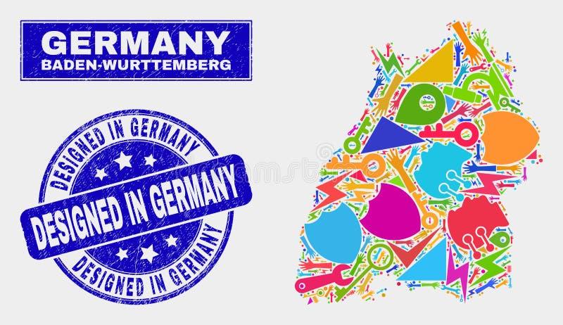 马赛克工业巴登-符腾堡州在德国邮票设计的土地地图和困厄 库存例证