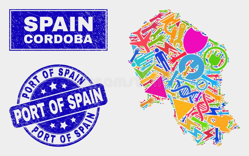 马赛克技术科多巴西班牙省地图和被抓的西班牙港封印 库存例证