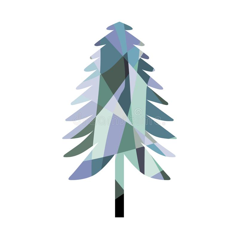马赛克杉树剪影 着色 向量例证