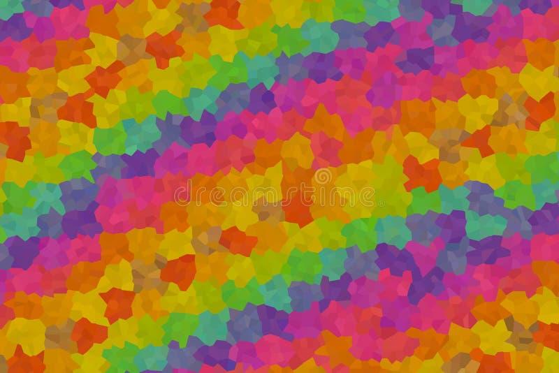 马赛克背景几何纹理混合橙黄元素变粉红色淡紫色蓝色多面的摘要 向量例证
