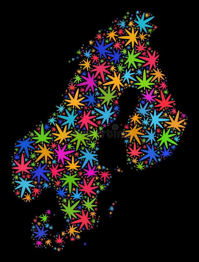 马赛克色的大麻叶子斯堪的那维亚地图  向量例证