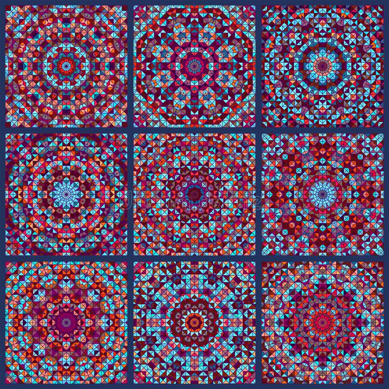 马赛克颜色瓷砖印刷品样式 皇族释放例证