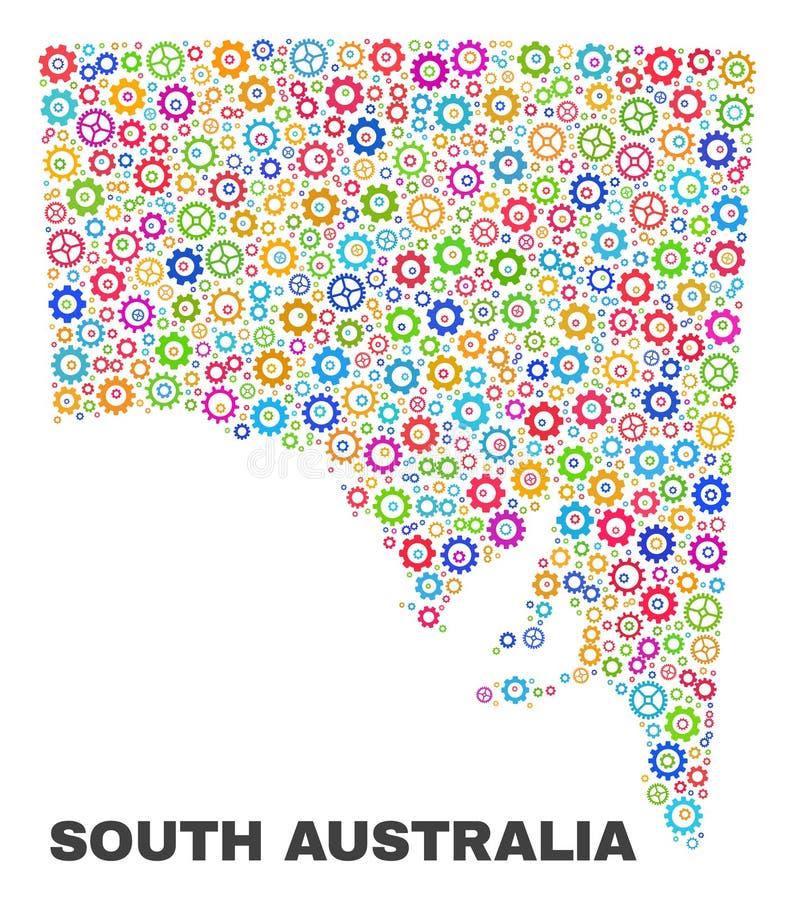 马赛克齿轮项目南澳大利亚地图  库存例证