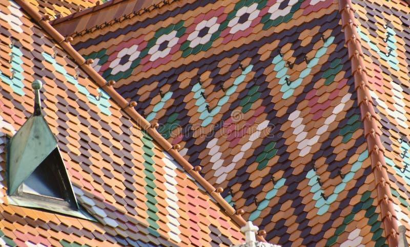 马赛厄斯教会屋顶细节在布达佩斯 免版税库存照片