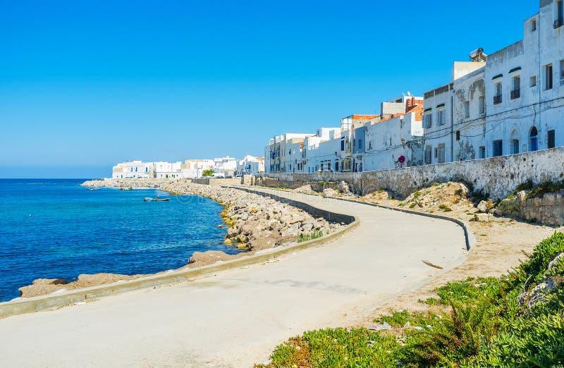 马赫迪耶,突尼斯美丽如画的海岸线  免版税库存图片