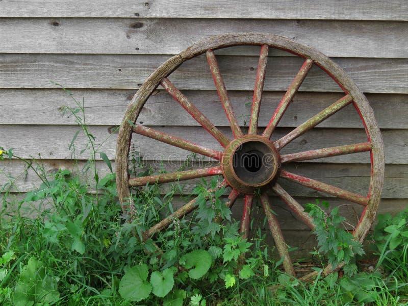 马车车轮对老委员会墙壁 免版税库存图片