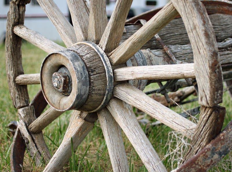 马车车轮的特写镜头 免版税图库摄影