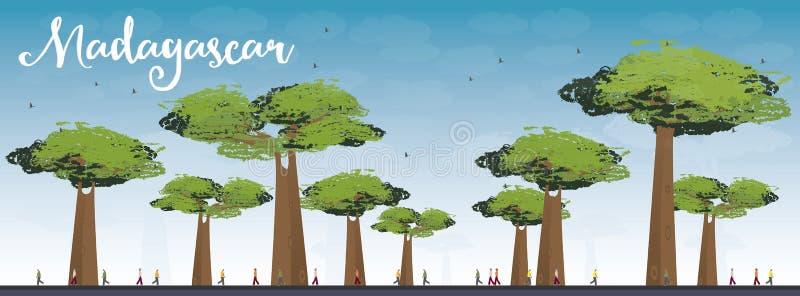 马达加斯加与猴面包树的地平线剪影与绿色叶子 库存例证