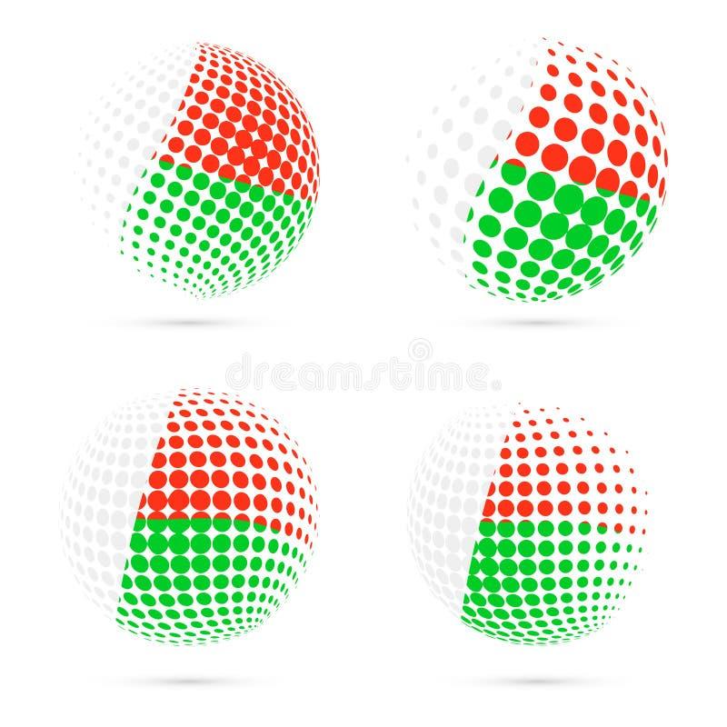 马达加斯加半音旗子集合爱国传染媒介 库存例证