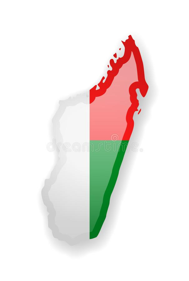 马达加斯加国家的旗子和概述白色背景的 库存例证