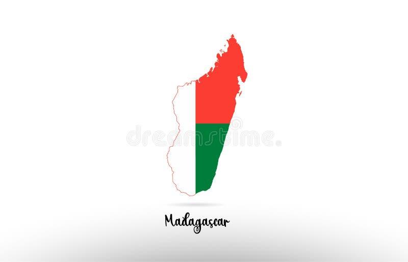 马达加斯加在地图等高设计象商标里面的国旗 皇族释放例证