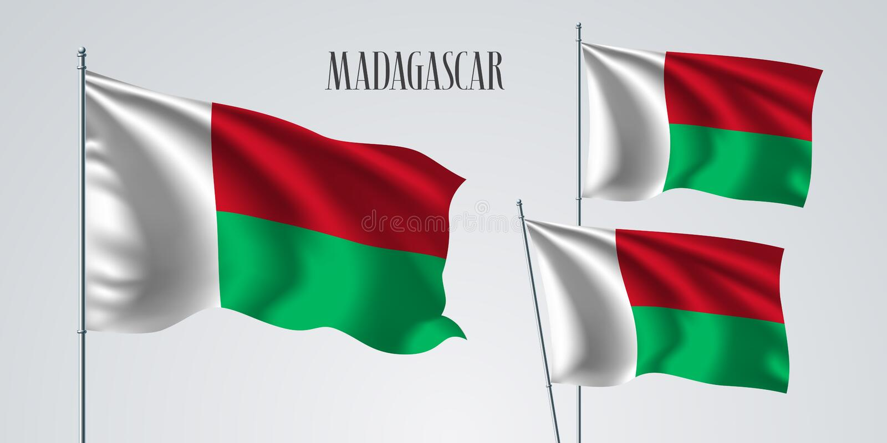 马达加斯加挥动的旗子套传染媒介例证 库存例证