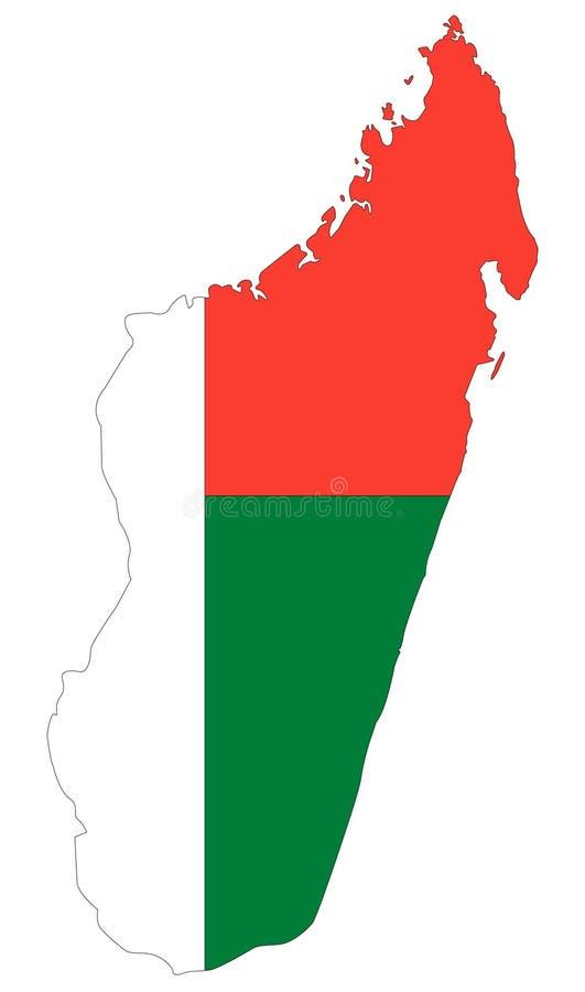 马达加斯加旗子和地图-岛屿国家在印度洋 库存例证