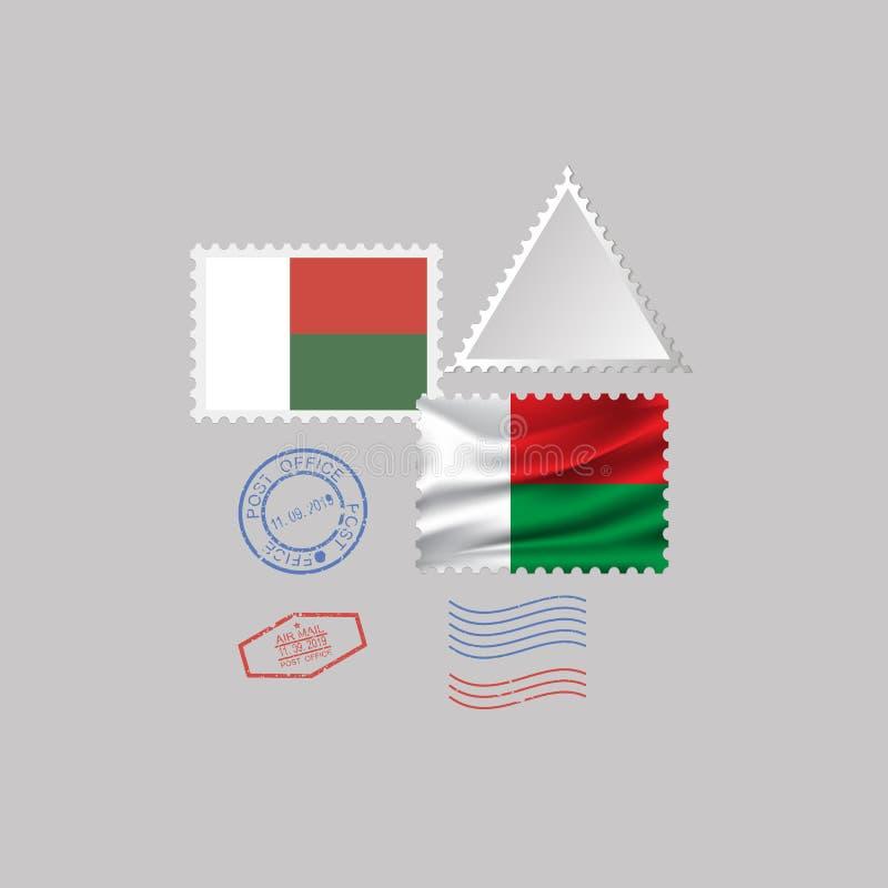 马达加斯加旗子邮票集合,隔绝在灰色背景,传染媒介例证 10 eps 皇族释放例证