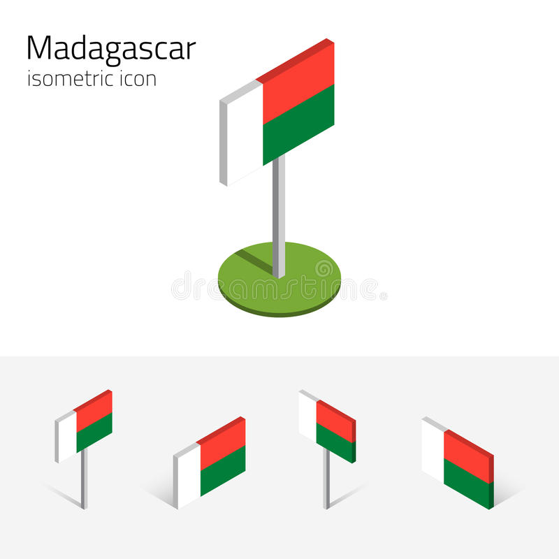 马达加斯加旗子, 3D等量平的象传染媒介套  库存例证