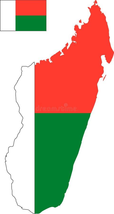 马达加斯加的传染媒介地图有旗子的 被隔绝的,白色背景 皇族释放例证