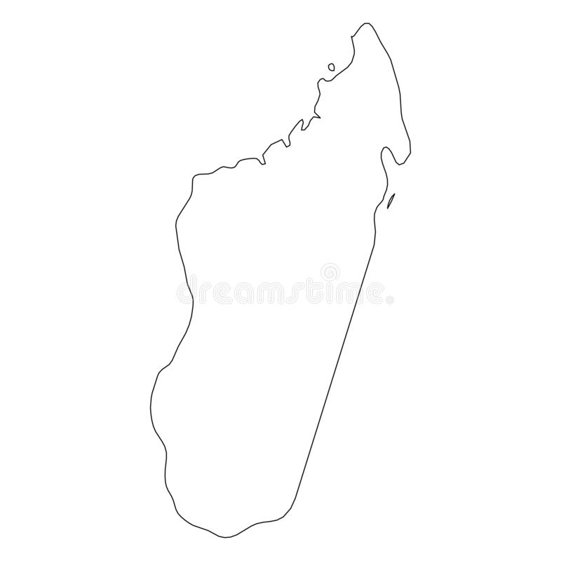 马达加斯加-国家区域坚实黑概述边界地图  简单的平的传染媒介例证 皇族释放例证