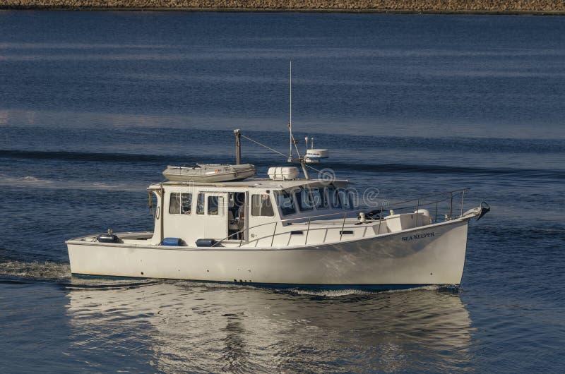 马达游艇临近新贝德福德的海老板 库存照片