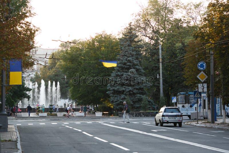 马里乌波尔,乌克兰- 2016年9月6日:乌克兰 马里乌波尔市的中心 免版税库存照片