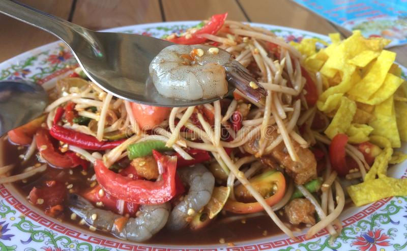 索马里兰胃或番木瓜沙拉 库存图片