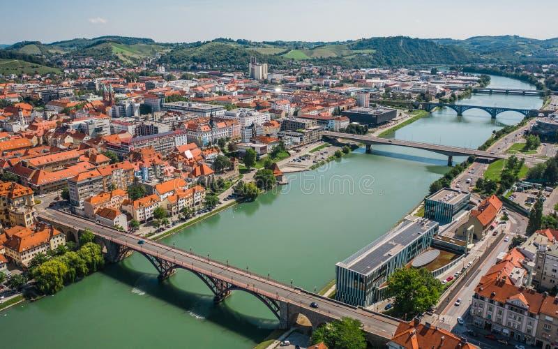 马里博尔和这是在德拉瓦河河的桥梁 库存照片