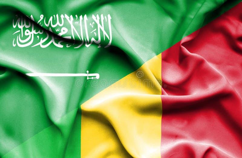 马里和沙特阿拉伯的挥动的旗子 皇族释放例证