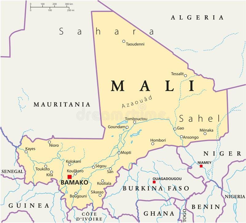 马里政治地图 皇族释放例证