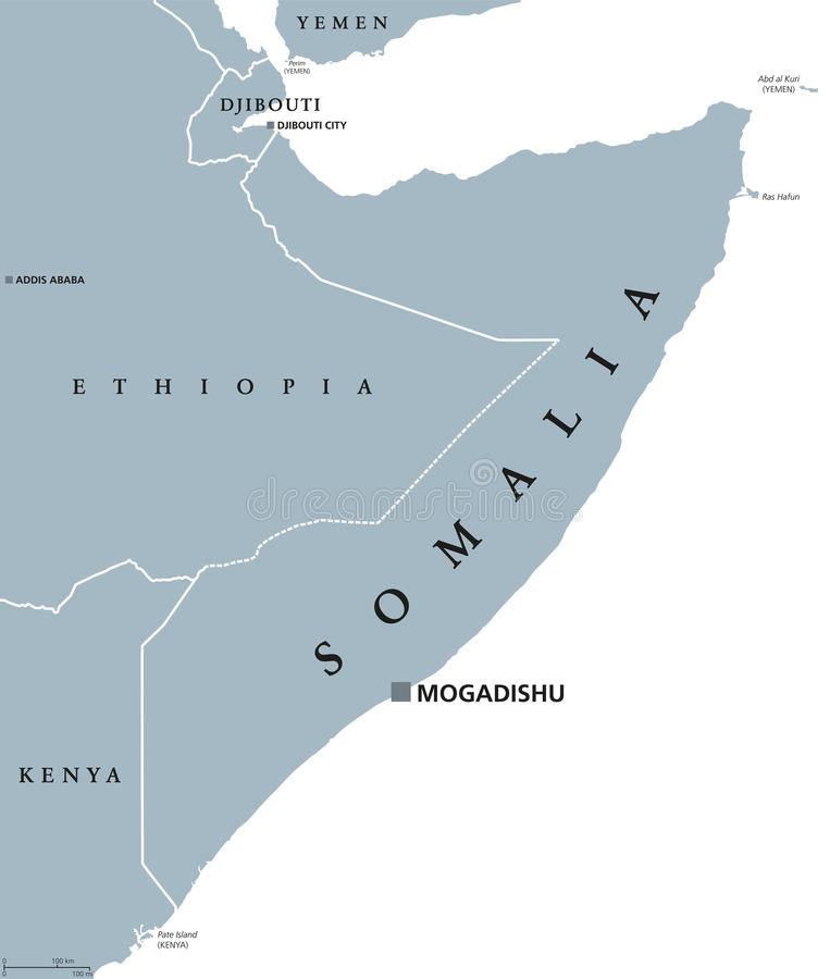 索马里政治地图 向量例证