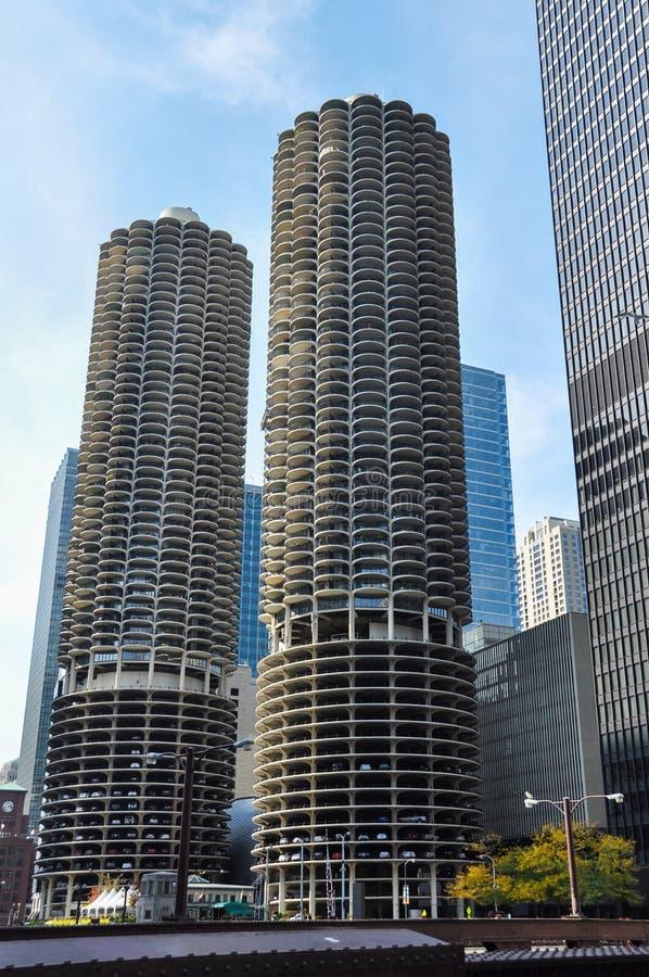 马里纳城是一个混杂用途住宅商业大厦区在芝加哥 免版税库存图片