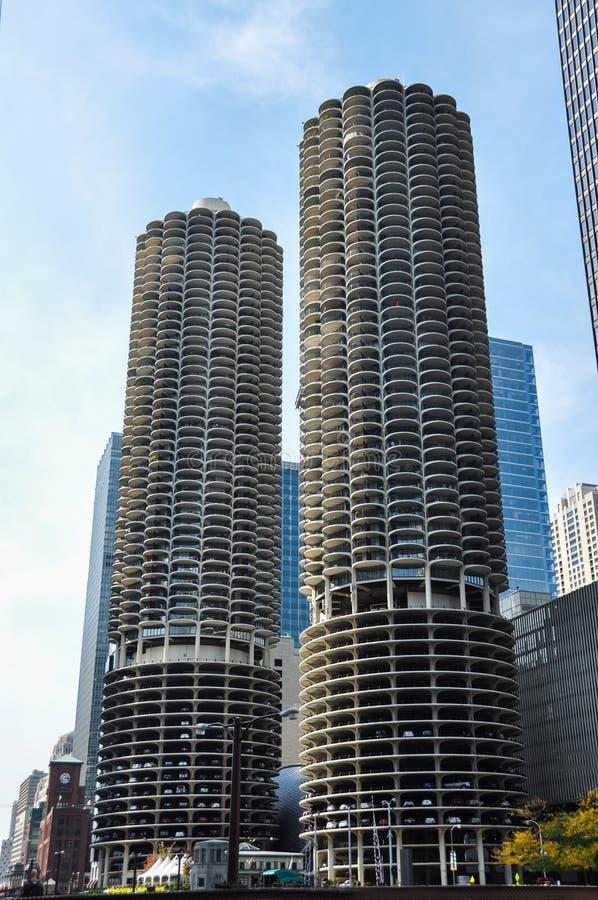 马里纳城是一个混杂用途住宅商业大厦区在芝加哥 库存图片