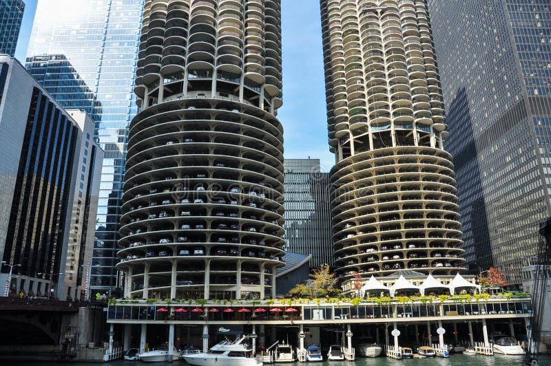 马里纳城是一个混杂用途住宅商业大厦区在芝加哥 图库摄影