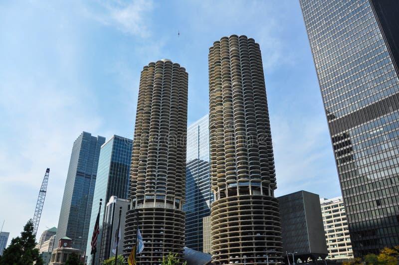 马里纳城是一个混杂用途住宅商业大厦区在芝加哥 库存照片