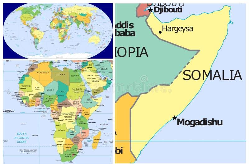 索马里&世界 皇族释放例证
