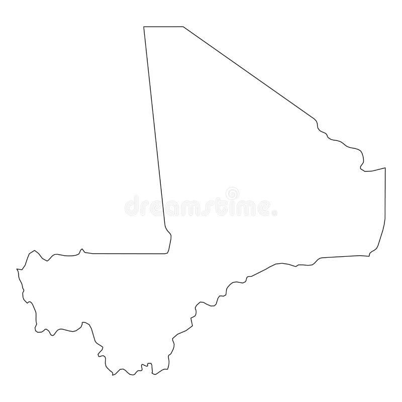 马里-国家区域坚实黑概述边界地图  简单的平的传染媒介例证 向量例证