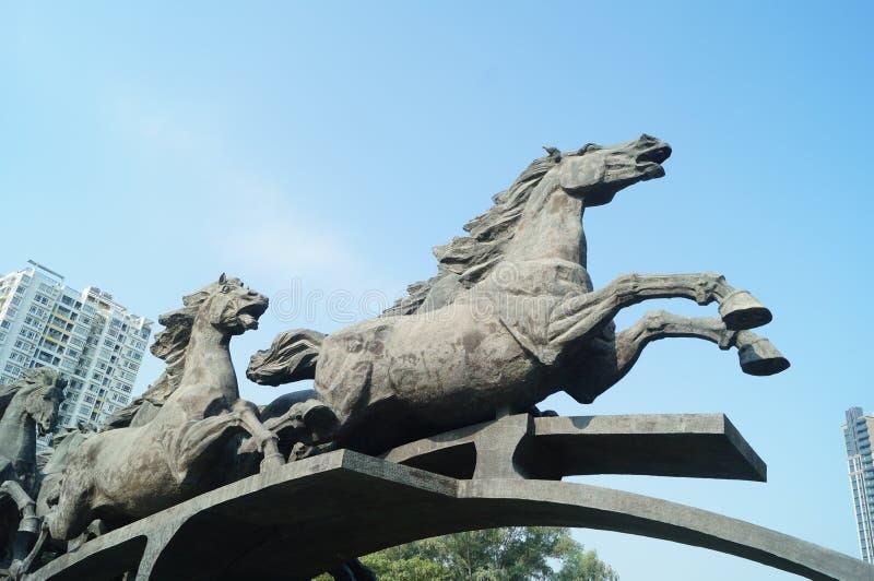 马雕塑风景 库存图片