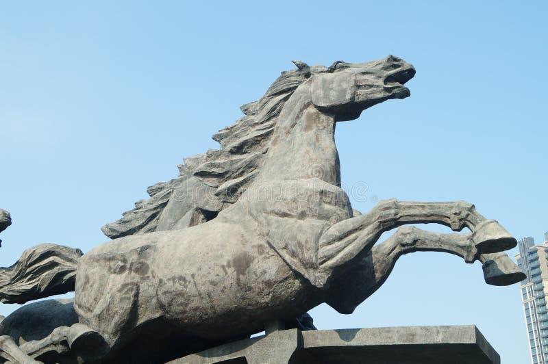 马雕塑风景 免版税库存照片