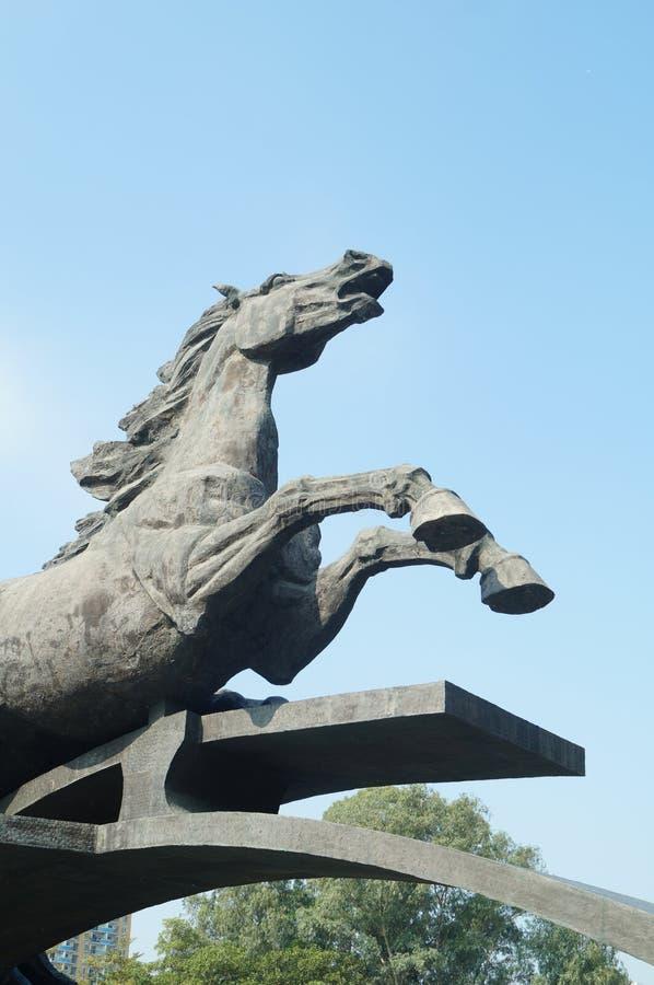 马雕塑风景 库存照片