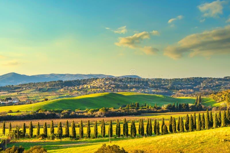马雷马的日落景观 滚动的山丘和桧木 卡萨莱马里蒂莫,意大利托斯卡纳 免版税图库摄影