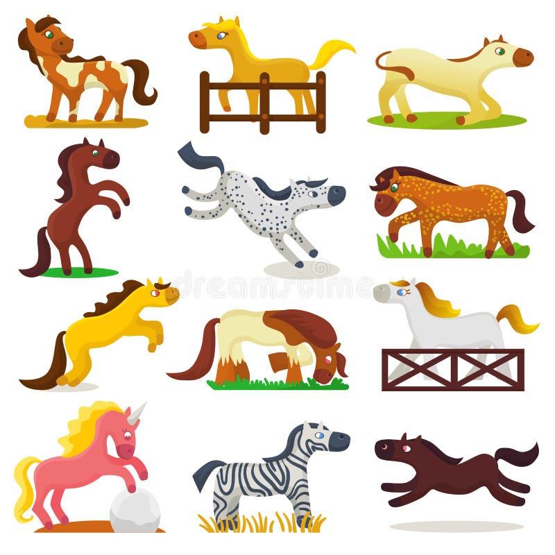 马饲养动画片马传染媒介逗人喜爱的似马动物或的孩子骑马和或者孩子似马公马的例证 库存例证