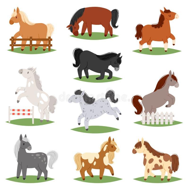 马饲养动画片马传染媒介逗人喜爱的似马动物或的孩子骑马和或者孩子似马公马的例证 皇族释放例证