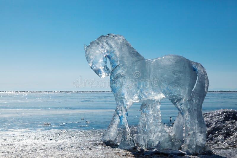 马,从冰的雕塑 库存图片