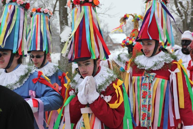 马索普斯特狂欢节 礼仪Shrovetide队伍,捷克Repub 免版税库存图片