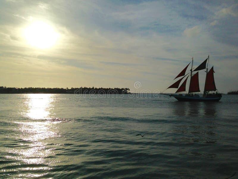 从马洛里广场3的佛罗里达基韦斯特岛日落 图库摄影