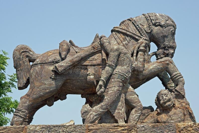 马konark雕象寺庙战争 免版税库存照片