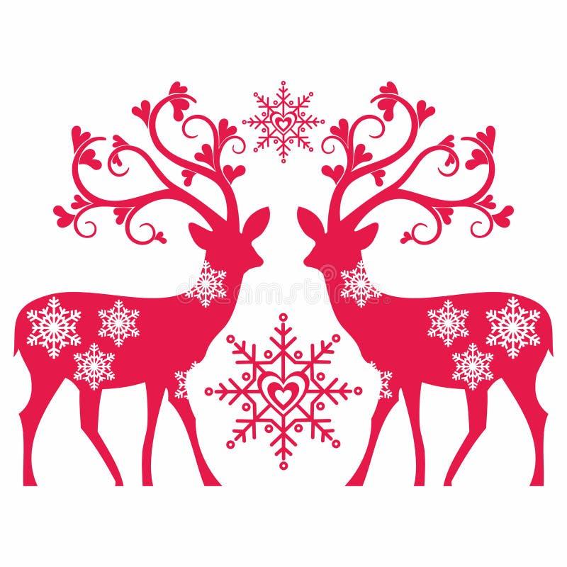 驯鹿、心脏和雪 向量例证