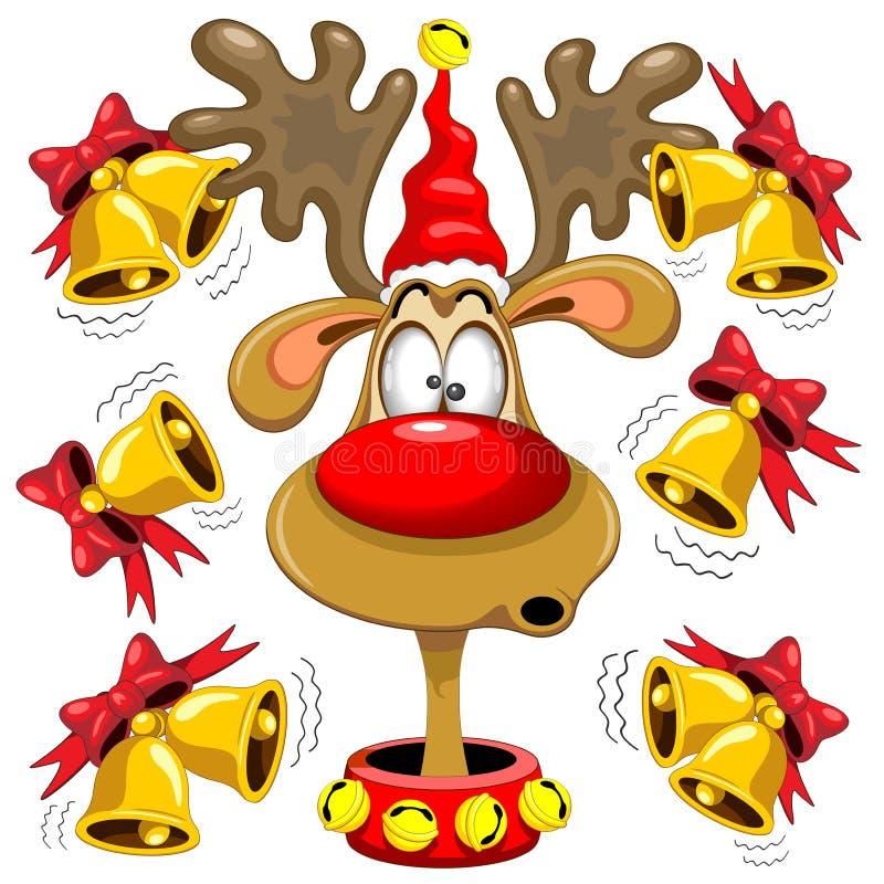 驯鹿乐趣与响铃的圣诞节动画片 库存例证