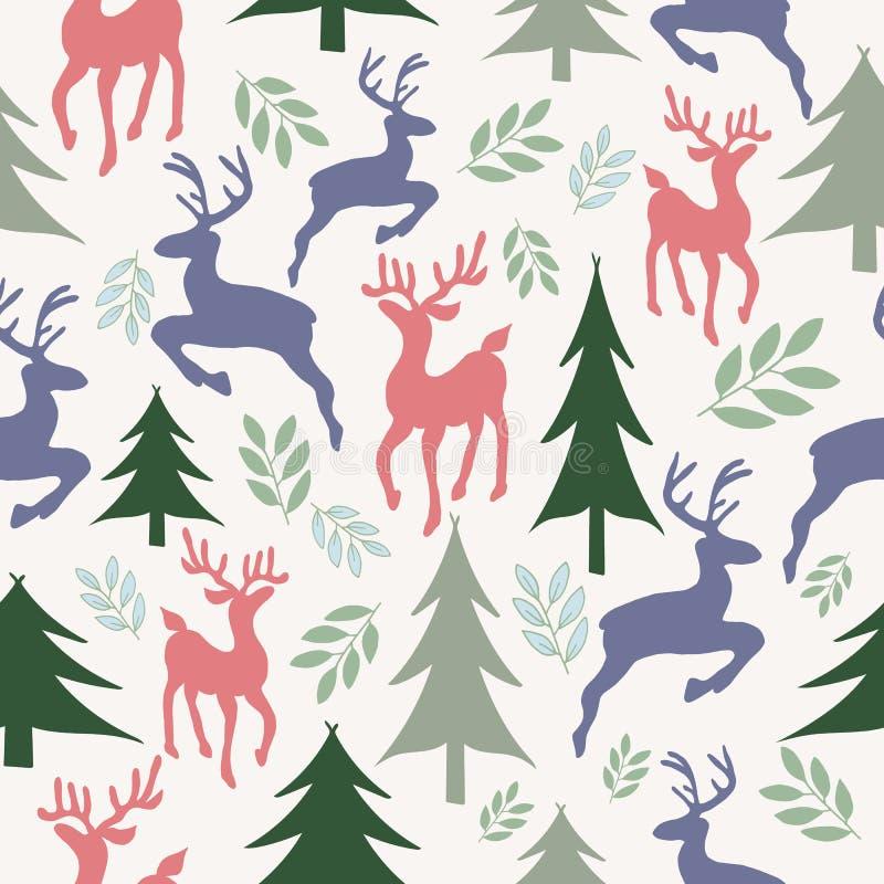 驯鹿和圣诞树无缝的样式 库存例证