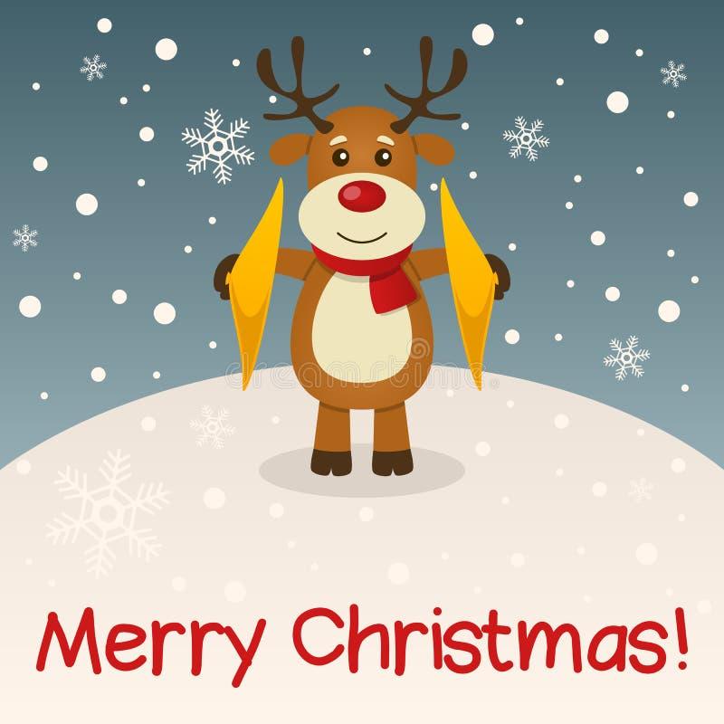 驯鹿圣诞快乐卡片 皇族释放例证